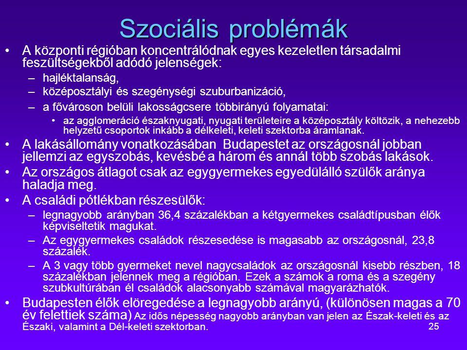 Szociális problémák A központi régióban koncentrálódnak egyes kezeletlen társadalmi feszültségekből adódó jelenségek: