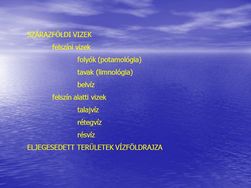 SZÁRAZFÖLDI VIZEK felszíni vizek. folyók (potamológia) tavak (limnológia) belvíz. felszín alatti vizek.