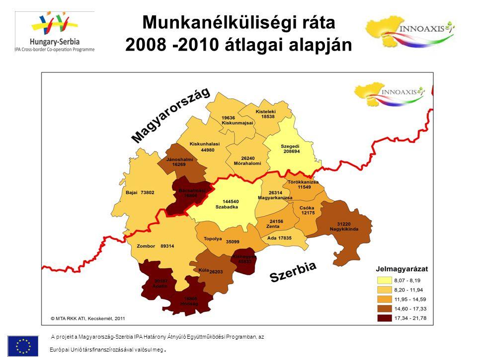 Munkanélküliségi ráta 2008 -2010 átlagai alapján