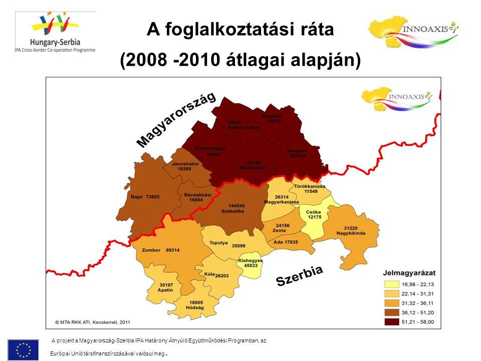A foglalkoztatási ráta (2008 -2010 átlagai alapján)