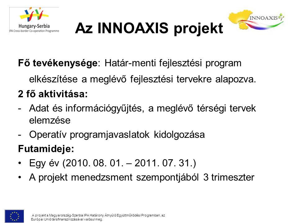 Az INNOAXIS projekt Fő tevékenysége: Határ-menti fejlesztési program elkészítése a meglévő fejlesztési tervekre alapozva.