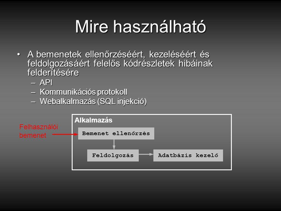 Mire használható A bemenetek ellenőrzéséért, kezeléséért és feldolgozásáért felelős kódrészletek hibáinak felderítésére.