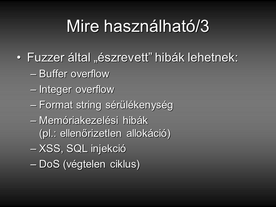 """Mire használható/3 Fuzzer által """"észrevett hibák lehetnek:"""