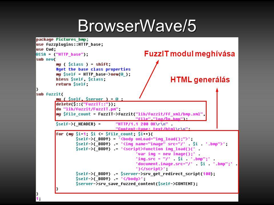 BrowserWave/5 FuzzIT modul meghívása HTML generálás