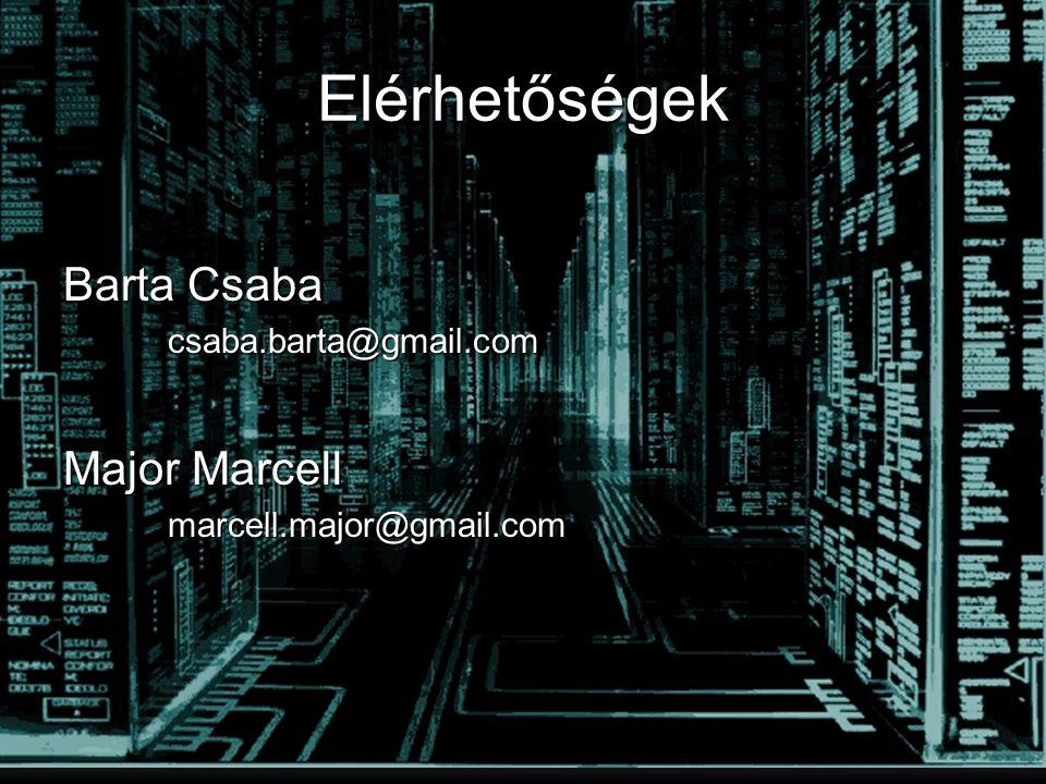Elérhetőségek Barta Csaba Major Marcell csaba.barta@gmail.com