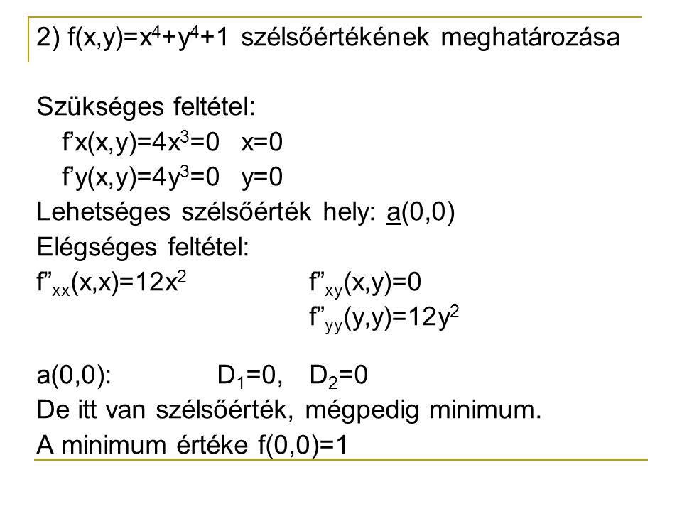 2) f(x,y)=x4+y4+1 szélsőértékének meghatározása