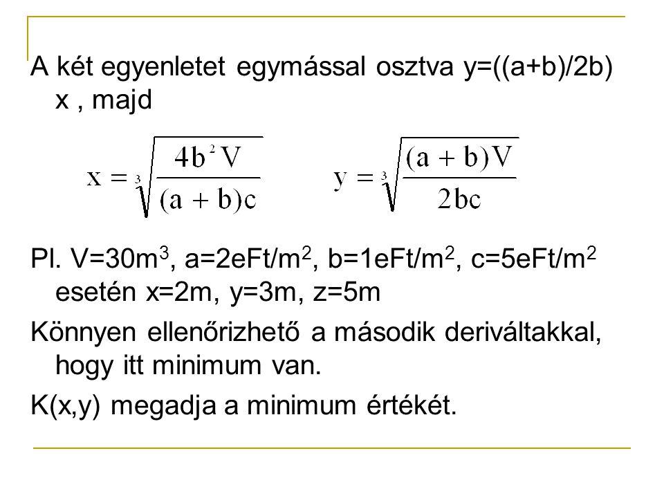 A két egyenletet egymással osztva y=((a+b)/2b) x , majd