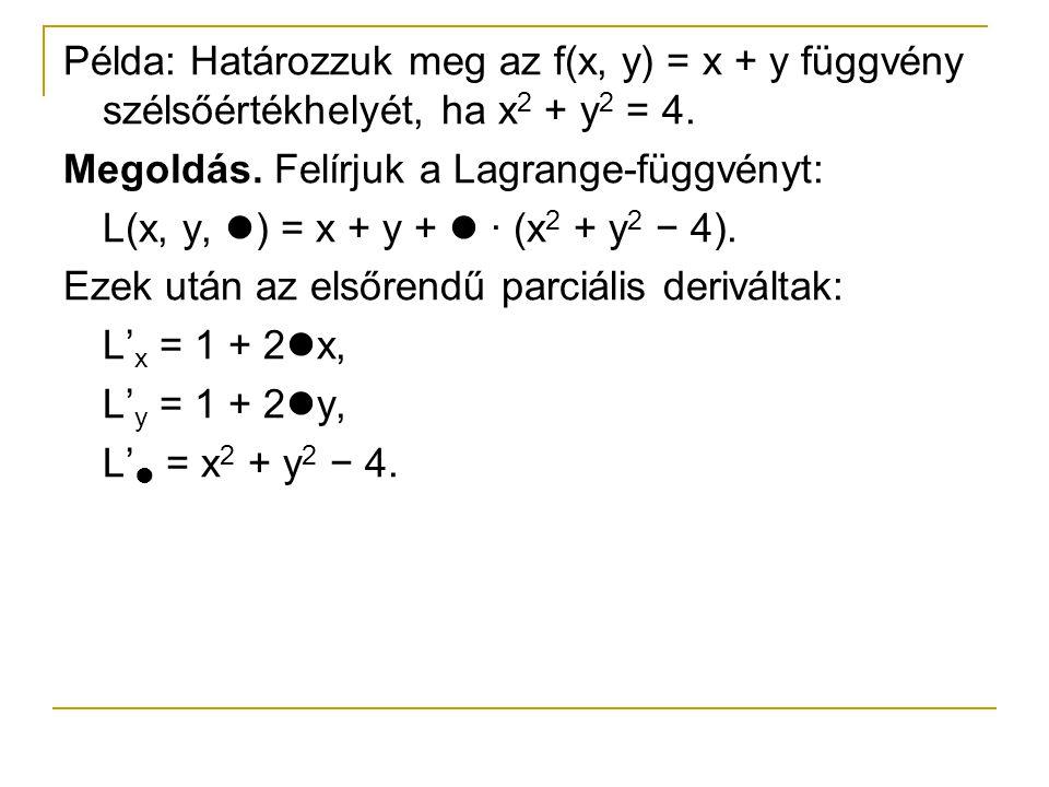 Példa: Határozzuk meg az f(x, y) = x + y függvény szélsőértékhelyét, ha x2 + y2 = 4.