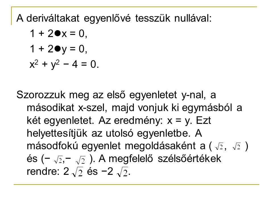 A deriváltakat egyenlővé tesszük nullával: