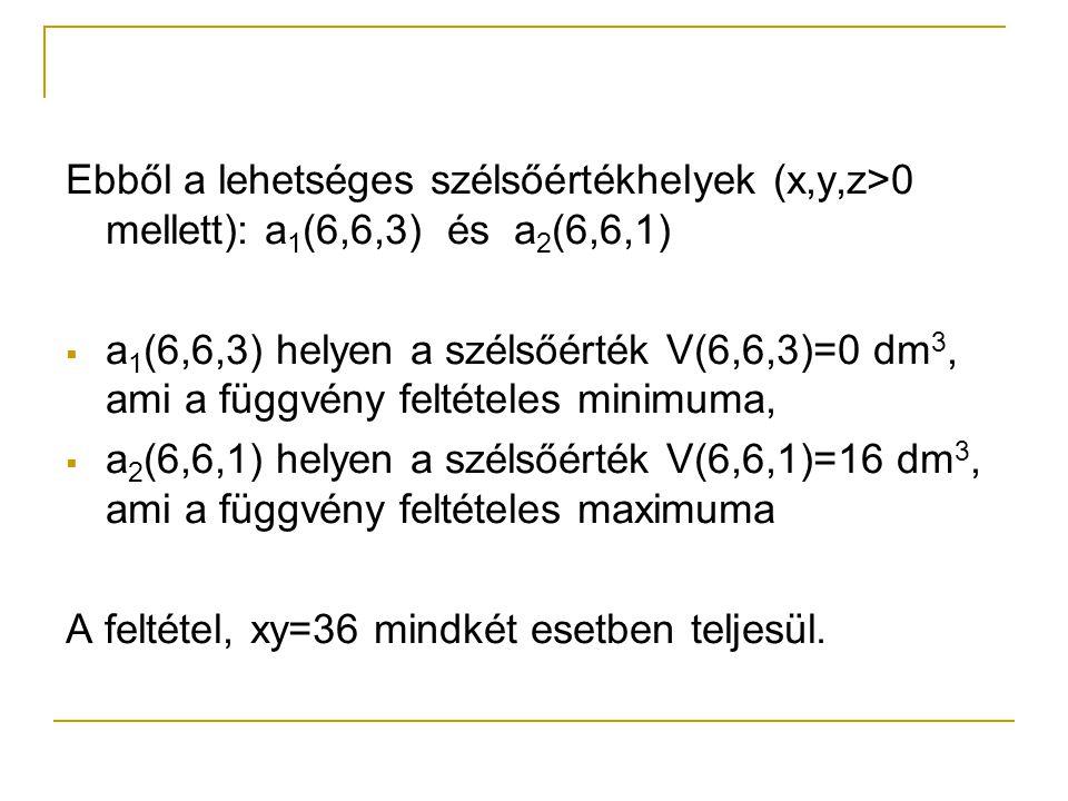 Ebből a lehetséges szélsőértékhelyek (x,y,z>0 mellett): a1(6,6,3) és a2(6,6,1)