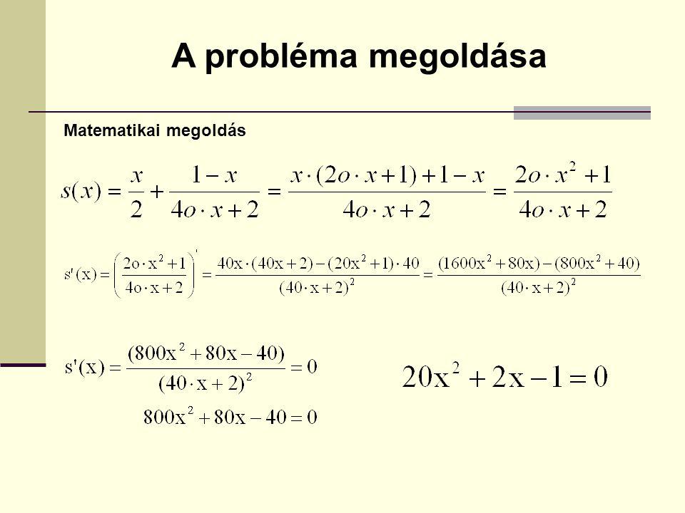A probléma megoldása Matematikai megoldás