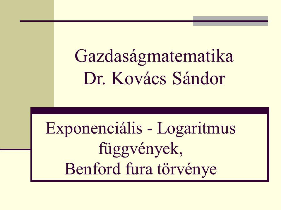 Exponenciális - Logaritmus függvények, Benford fura törvénye