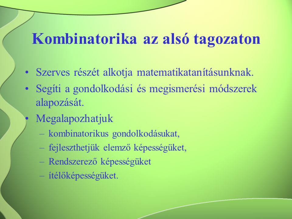 Kombinatorika az alsó tagozaton