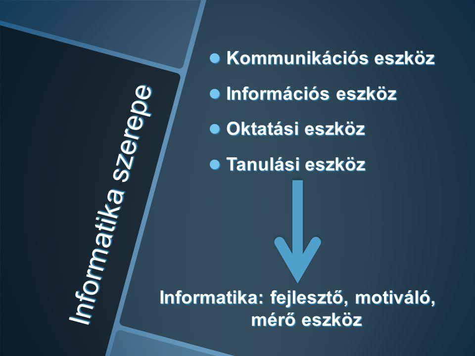 Informatika: fejlesztő, motiváló, mérő eszköz