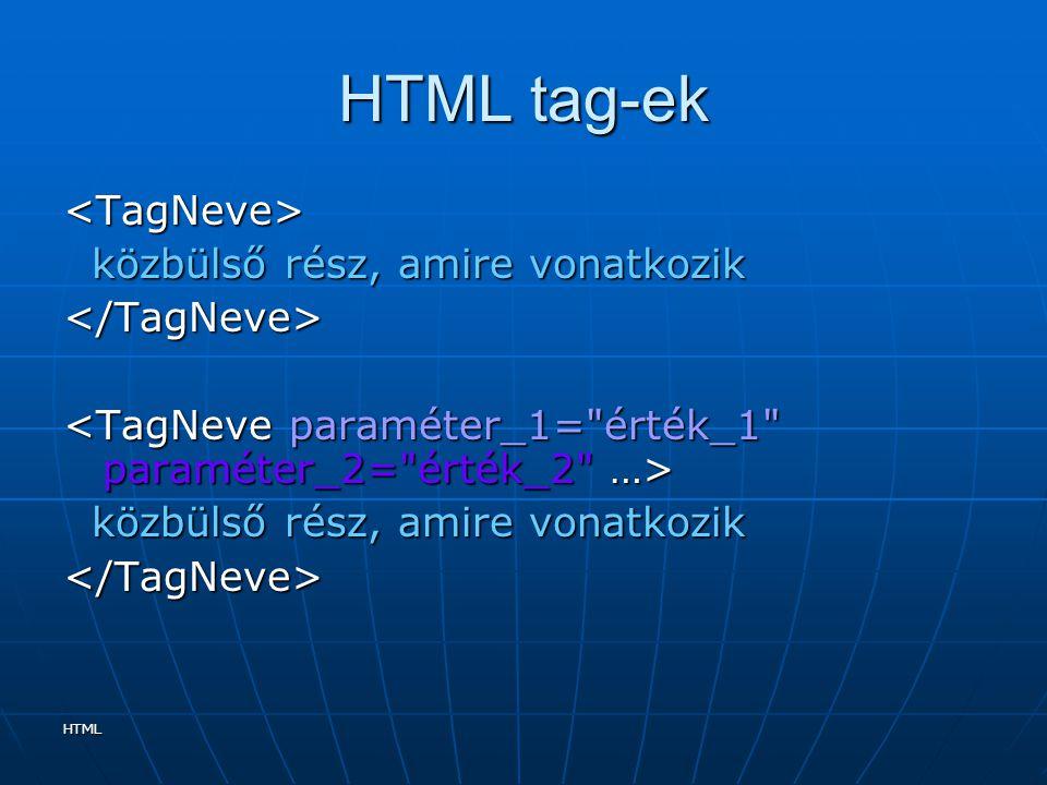 HTML tag-ek <TagNeve> közbülső rész, amire vonatkozik