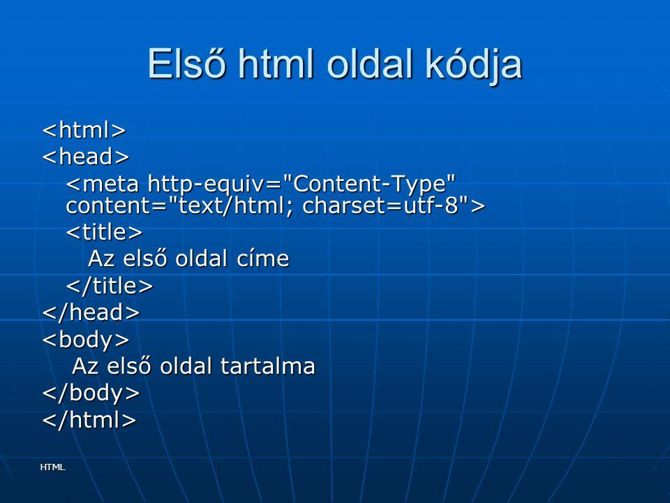 Első html oldal kódja <html> <head>