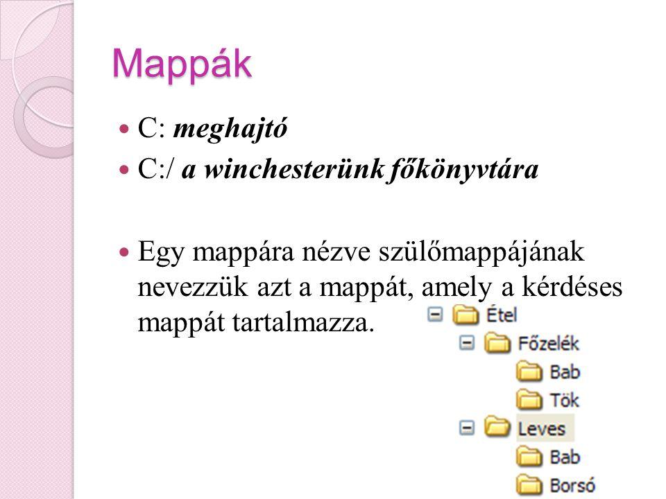 Mappák C: meghajtó C:/ a winchesterünk főkönyvtára