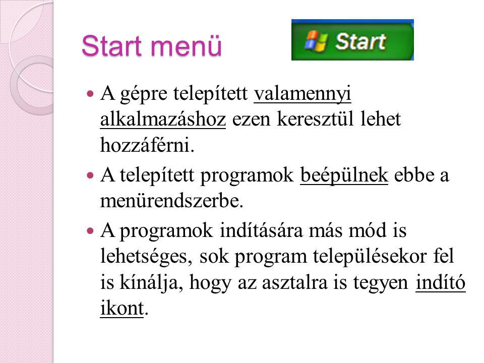 Start menü A gépre telepített valamennyi alkalmazáshoz ezen keresztül lehet hozzáférni. A telepített programok beépülnek ebbe a menürendszerbe.