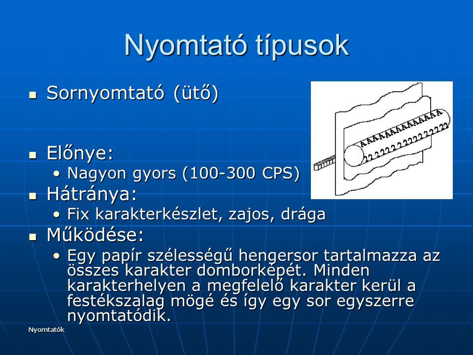Nyomtató típusok Sornyomtató (ütő) Előnye: Hátránya: Működése: