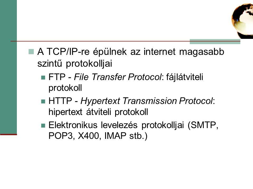 A TCP/IP-re épülnek az internet magasabb szintű protokolljai