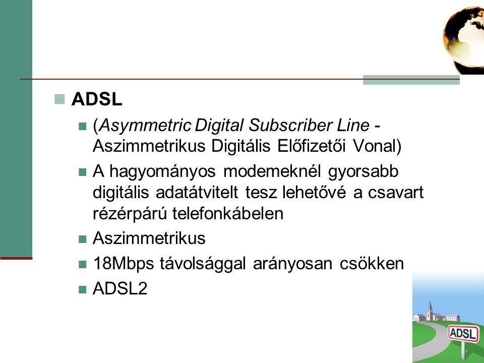 ADSL (Asymmetric Digital Subscriber Line - Aszimmetrikus Digitális Előfizetői Vonal)