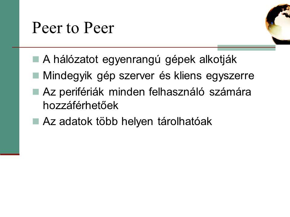 Peer to Peer A hálózatot egyenrangú gépek alkotják