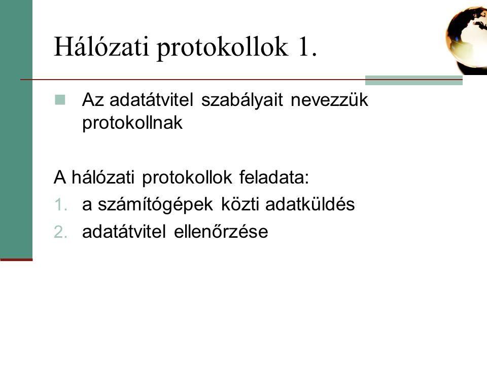 Hálózati protokollok 1. Az adatátvitel szabályait nevezzük protokollnak. A hálózati protokollok feladata: