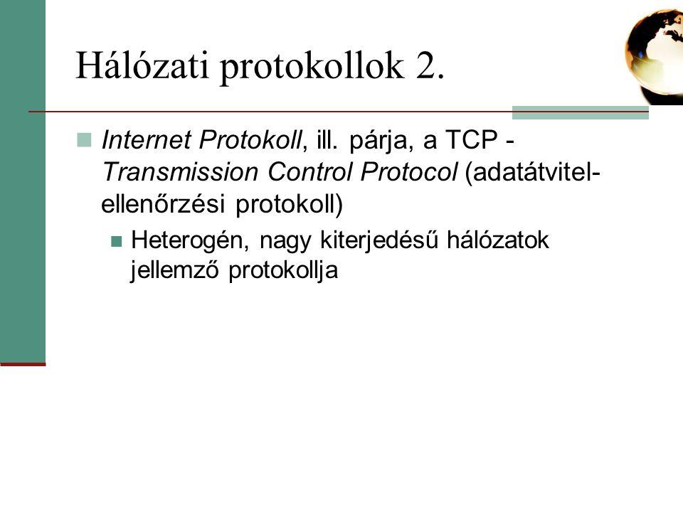 Hálózati protokollok 2. Internet Protokoll, ill. párja, a TCP - Transmission Control Protocol (adatátvitel-ellenőrzési protokoll)