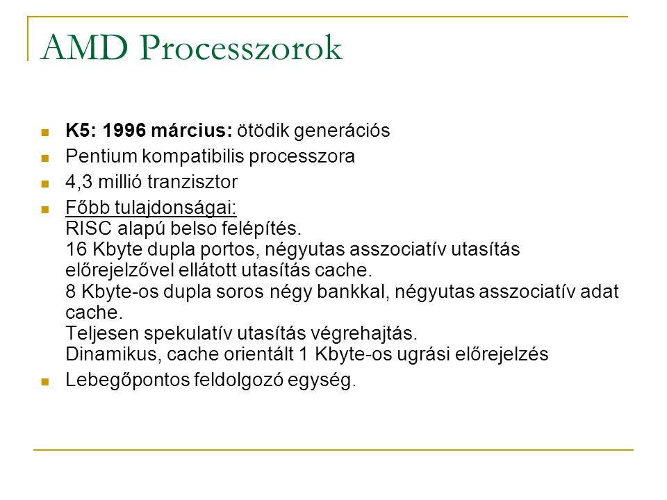 AMD Processzorok K5: 1996 március: ötödik generációs