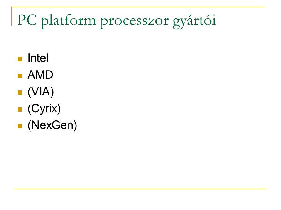 PC platform processzor gyártói