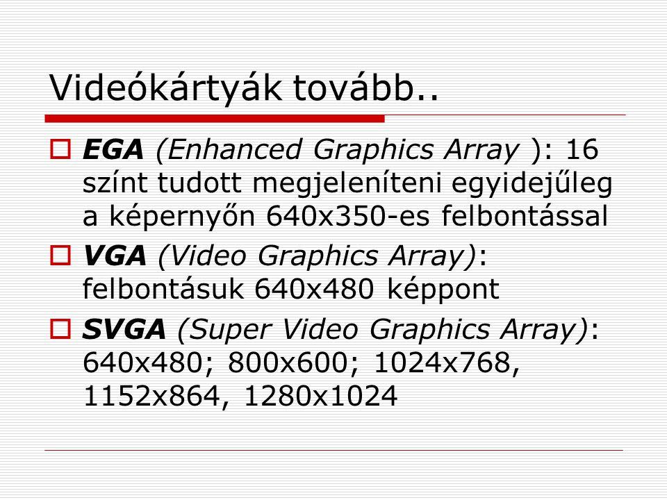 Videókártyák tovább.. EGA (Enhanced Graphics Array ): 16 színt tudott megjeleníteni egyidejűleg a képernyőn 640x350-es felbontással.