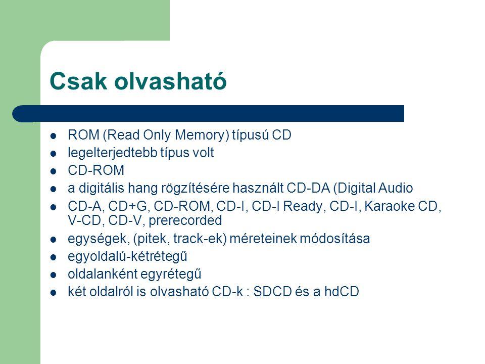 Csak olvasható ROM (Read Only Memory) típusú CD