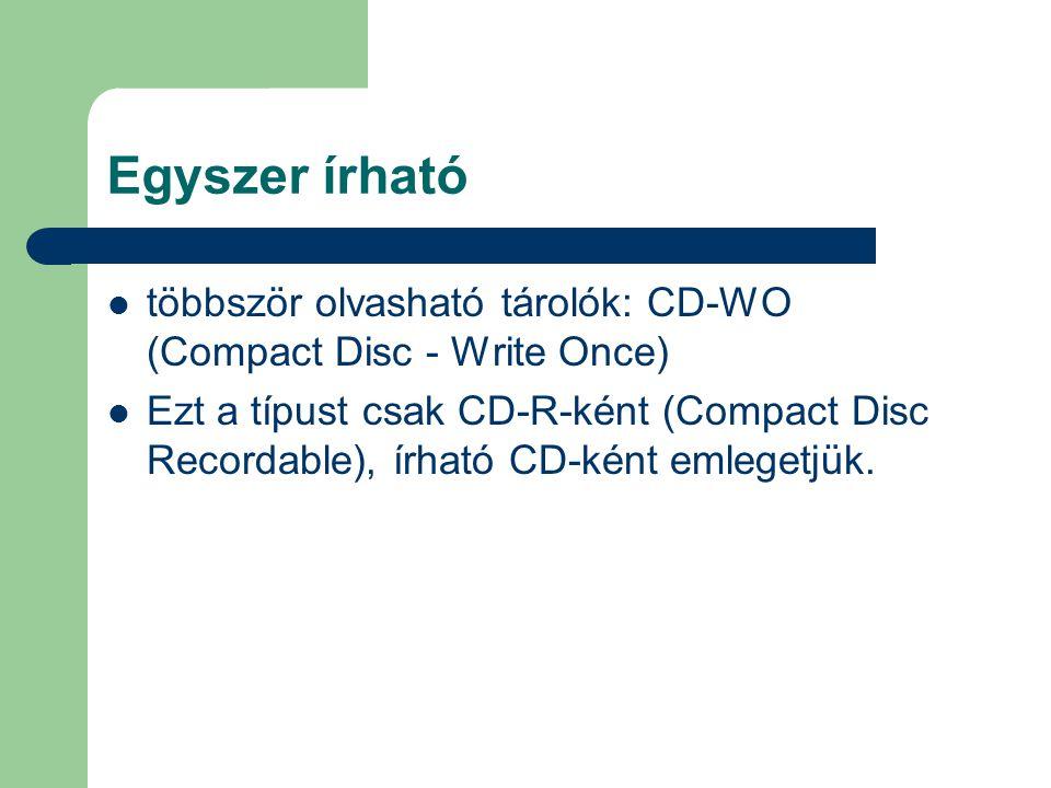 Egyszer írható többször olvasható tárolók: CD-WO (Compact Disc - Write Once)