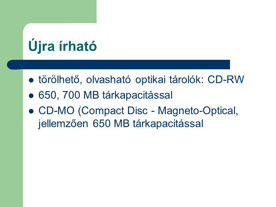Újra írható törölhető, olvasható optikai tárolók: CD-RW