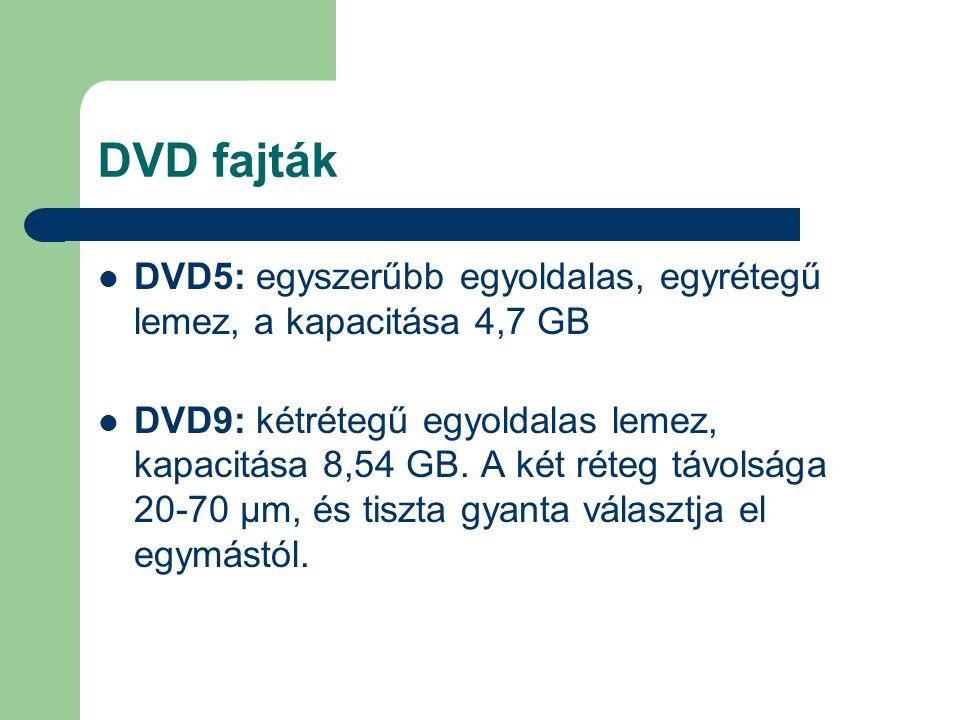 DVD fajták DVD5: egyszerűbb egyoldalas, egyrétegű lemez, a kapacitása 4,7 GB.