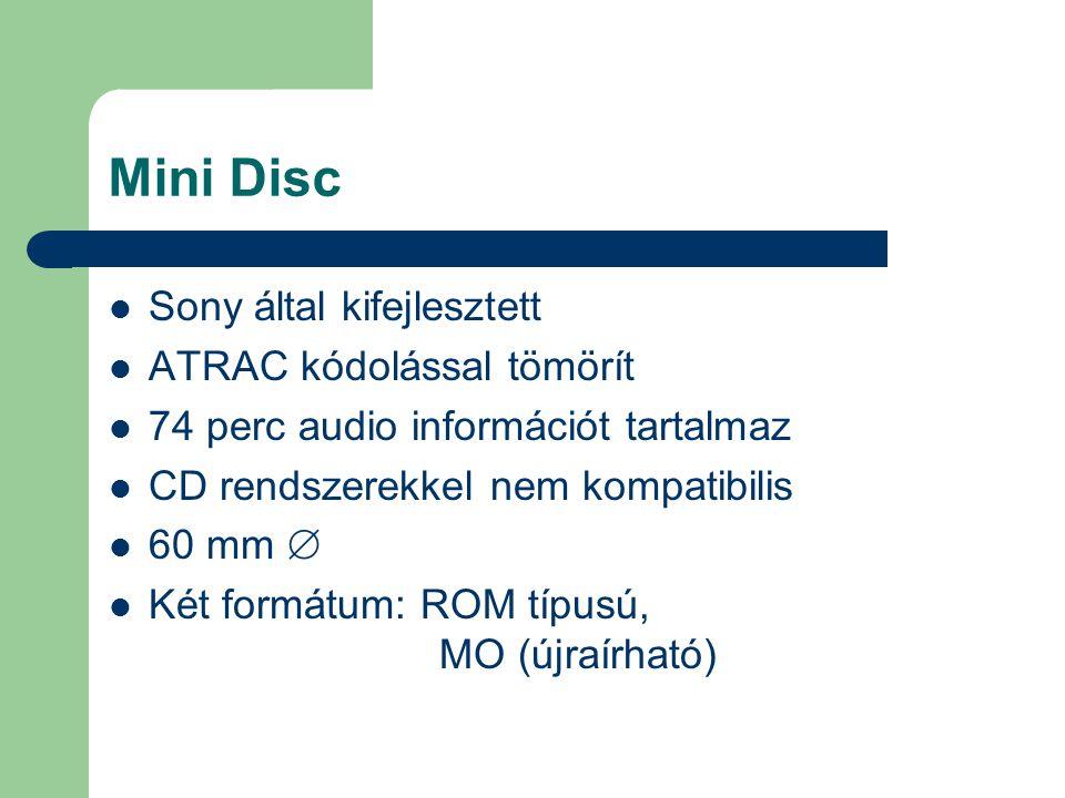 Mini Disc Sony által kifejlesztett ATRAC kódolással tömörít