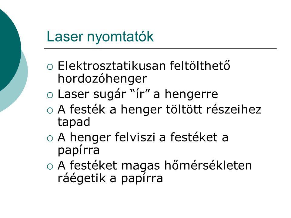 Laser nyomtatók Elektrosztatikusan feltölthető hordozóhenger