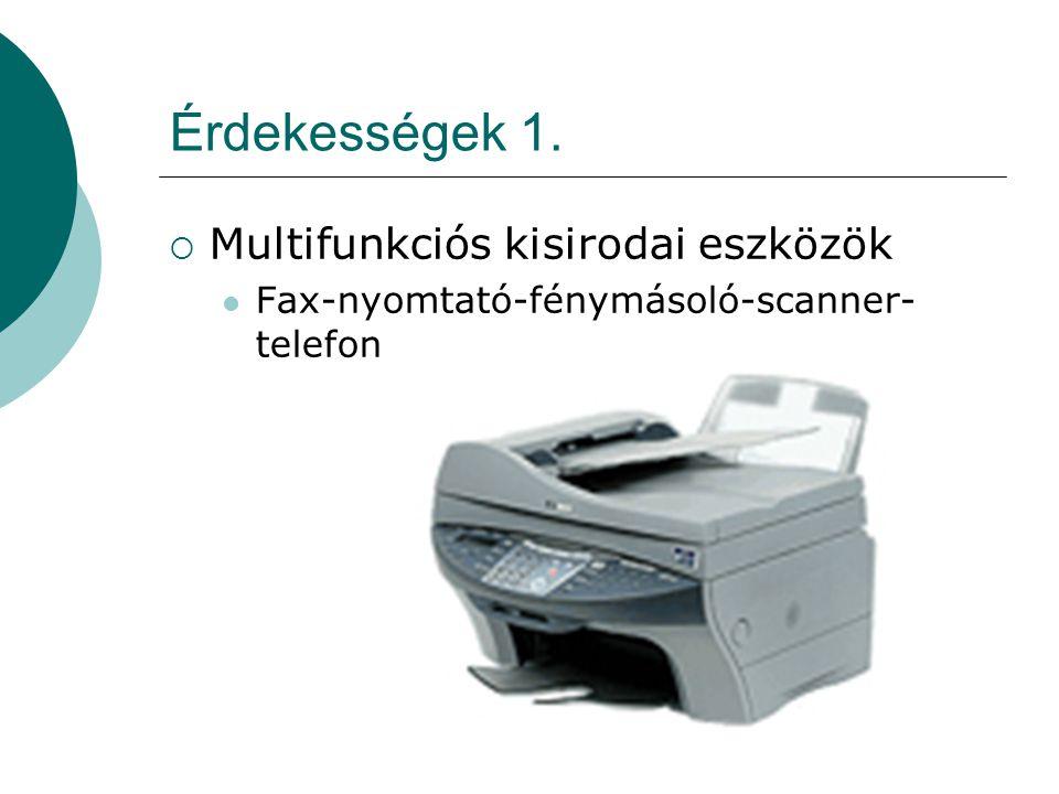 Érdekességek 1. Multifunkciós kisirodai eszközök