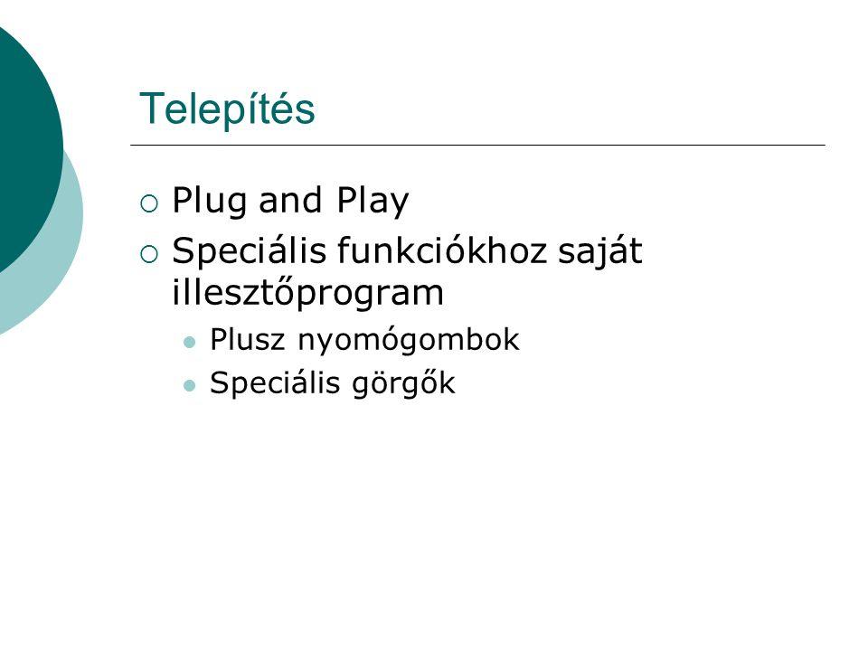 Telepítés Plug and Play Speciális funkciókhoz saját illesztőprogram