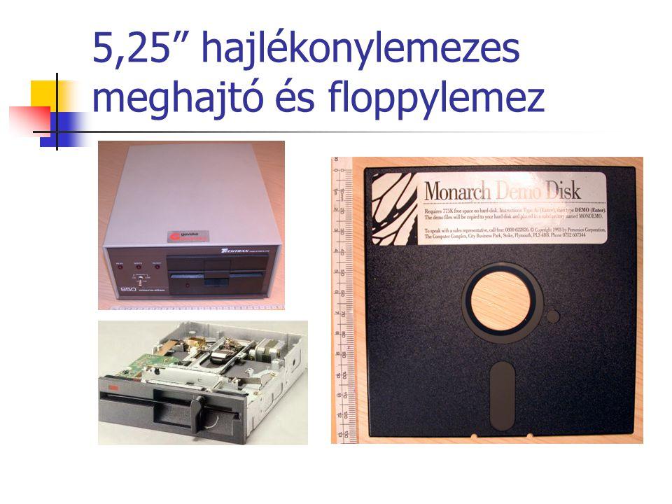 5,25 hajlékonylemezes meghajtó és floppylemez