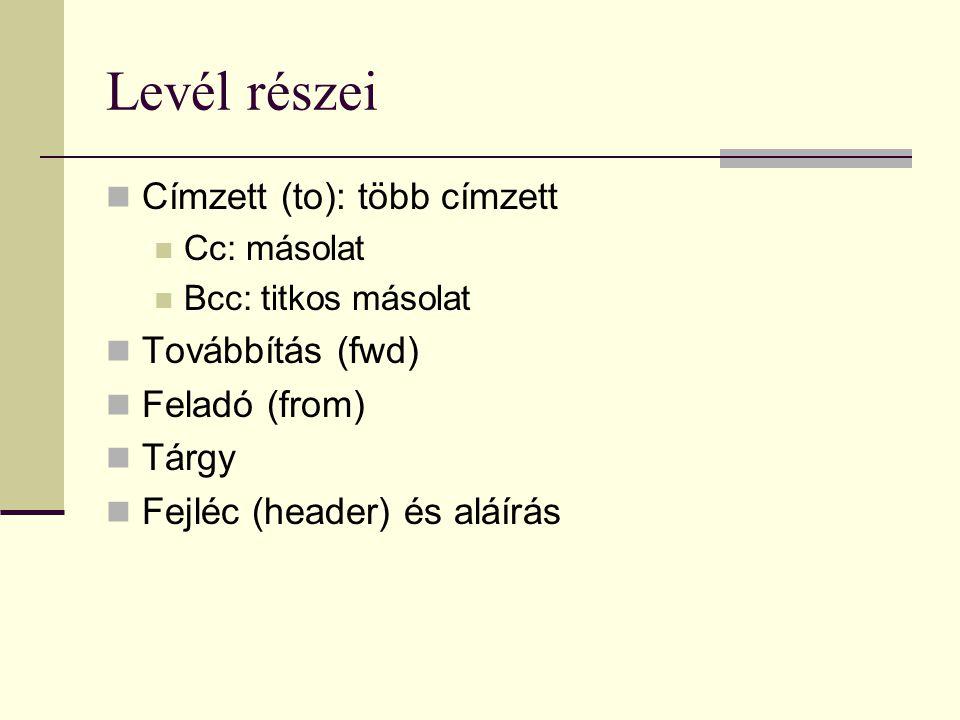 Levél részei Címzett (to): több címzett Továbbítás (fwd) Feladó (from)