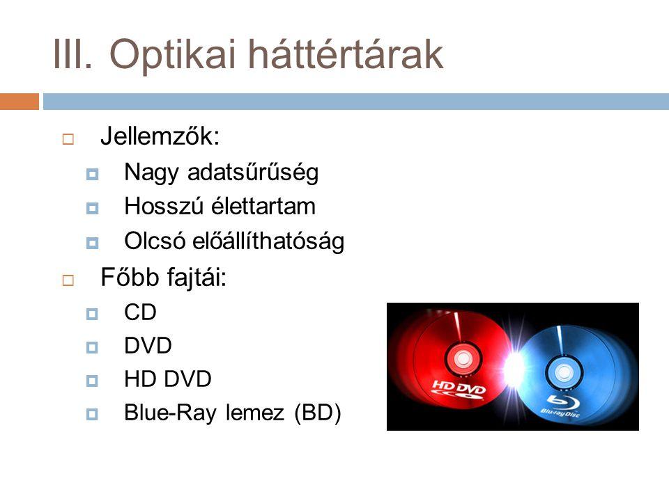 III. Optikai háttértárak