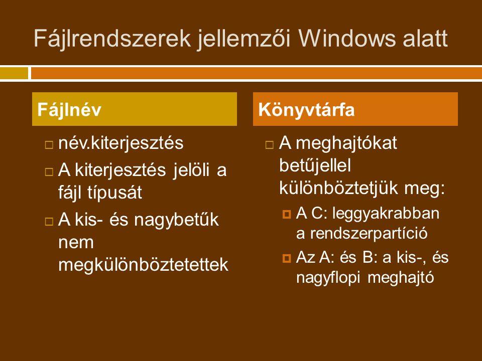 Fájlrendszerek jellemzői Windows alatt