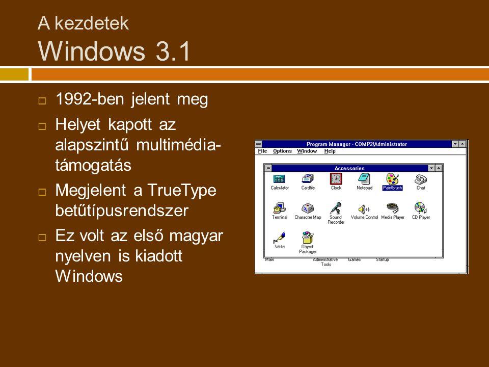 A kezdetek Windows 3.1 1992-ben jelent meg