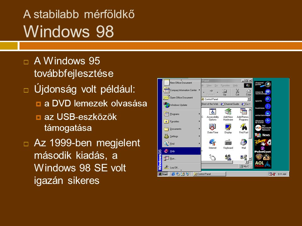 A stabilabb mérföldkő Windows 98