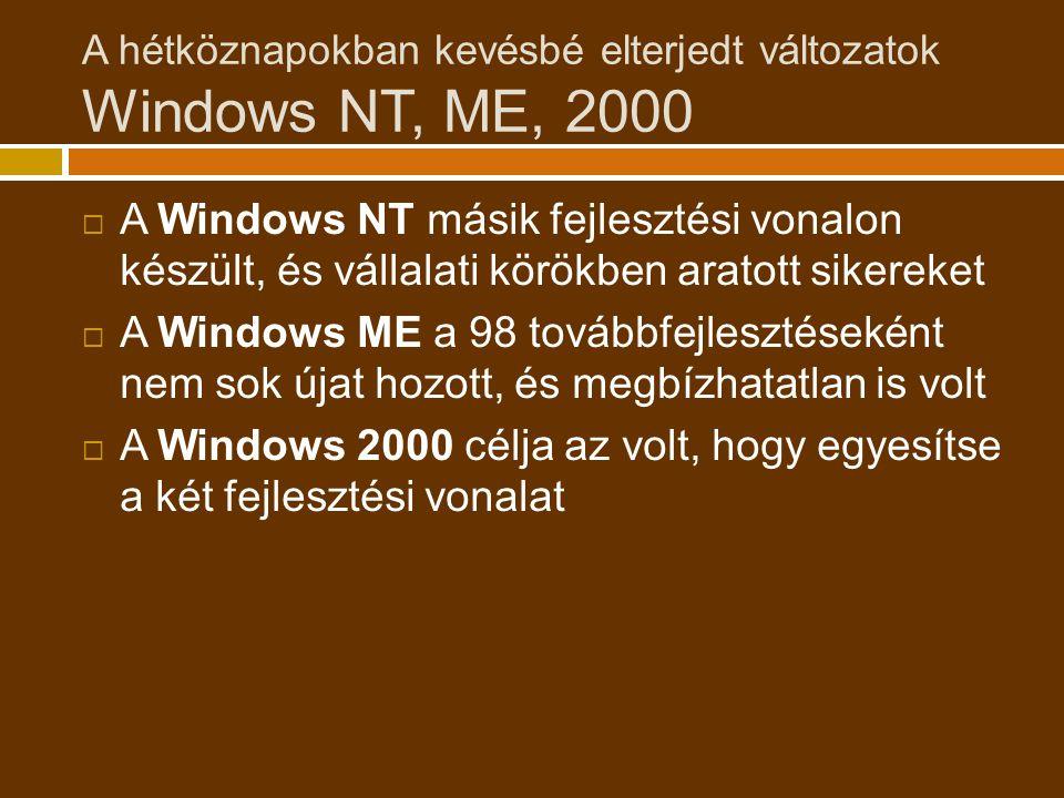 A hétköznapokban kevésbé elterjedt változatok Windows NT, ME, 2000