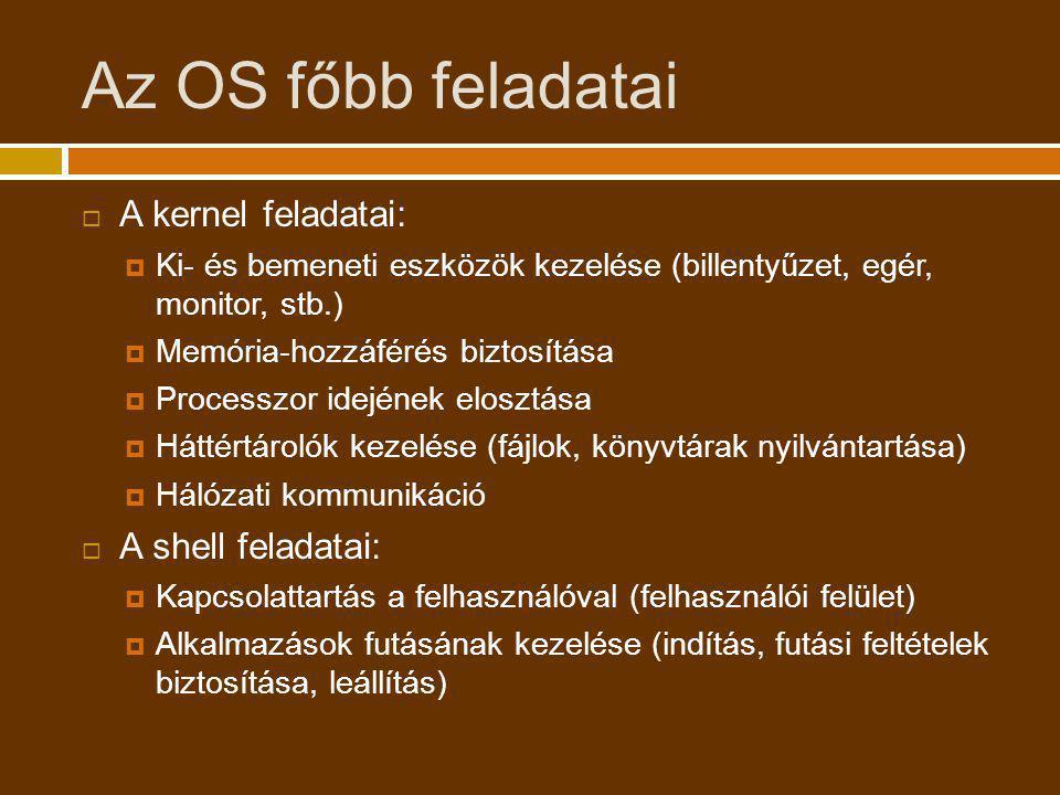 Az OS főbb feladatai A kernel feladatai: A shell feladatai: