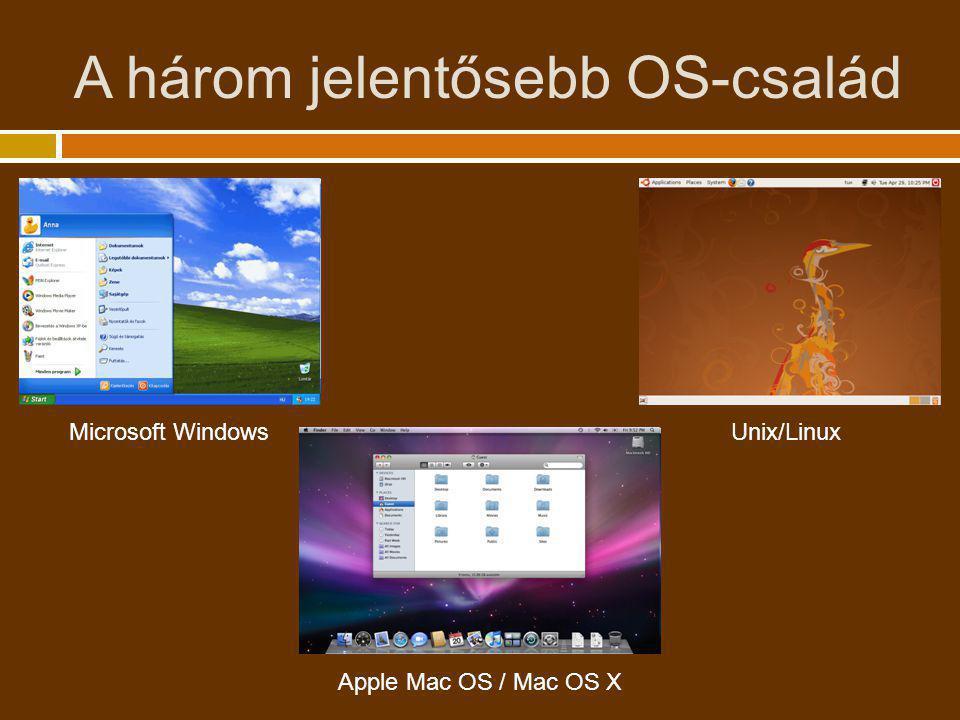 A három jelentősebb OS-család