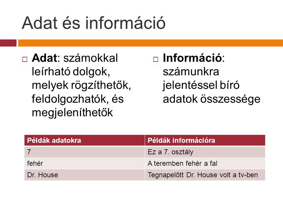 Adat és információ Adat: számokkal leírható dolgok, melyek rögzíthetők, feldolgozhatók, és megjeleníthetők.