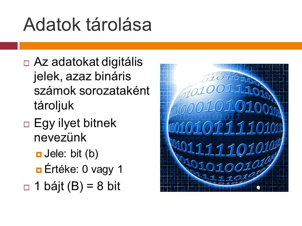 Adatok tárolása Az adatokat digitális jelek, azaz bináris számok sorozataként tároljuk. Egy ilyet bitnek nevezünk.